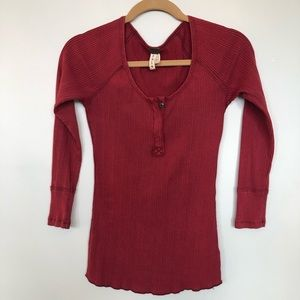 Red Free People ribbed Tee